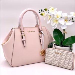 Michael Kors Charlotte Satchel & Wallet Set Pink